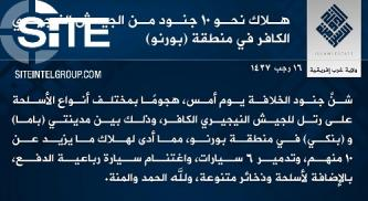 IS West Africa Province Claims Ambush on Nigerian Forces in Borno, Killing 10