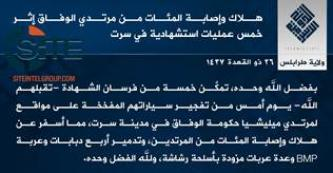 IS Claims Killing, Wounding Nearly 400 Libyan Forces During Two Days of Clashes in Sirte
