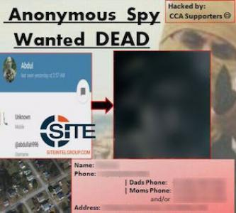 "Pro-IS Telegram Channel Posts Picture of Alleged Anonymous Hacker ""Wanted Dead"""