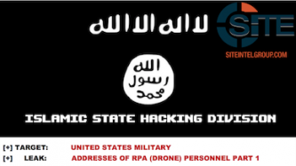 """Islamic State Hacking Division"" Distributes List of Names, Addresses of 76 Alleged U.S. Military Drone Personnel"