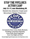 "Anti-Pipeline Activists Schedule ""Stop the Pipelines Action Camp"" in July Near Blacksburg Virginia"