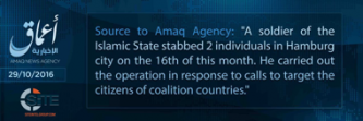"'Amaq Reports Hamburg Stabbing Carried Out by IS ""Soldier"""