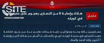 IS' Khorasan Province Claims Killing and Wounding 9 Christians in Quetta